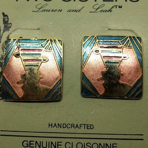 Two Sisters /Vintage Jewelry - Vintage NWT Two Sisters Cloisonne Faces P Earrings